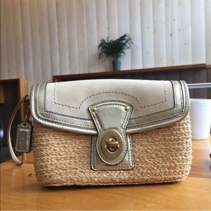 Coach Straw and Leather Clutch Wristlet Wallet